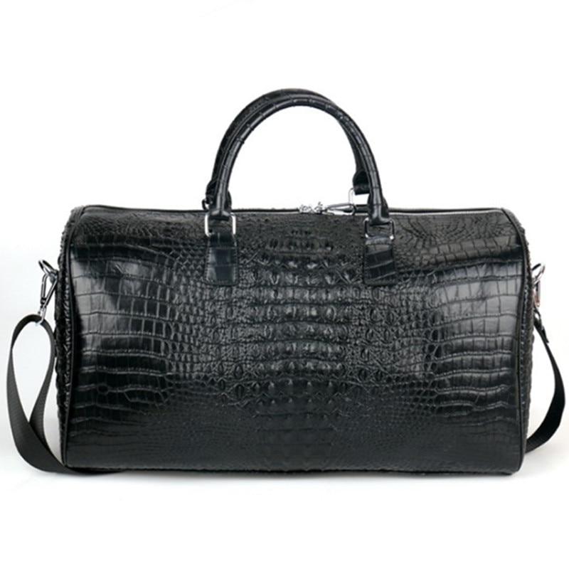 Мужская двухслойная кожаная дорожная сумка, большая сумка с крокодиловым узором, большая сумка для фитнеса, багажная сумка на плечо, деловы...