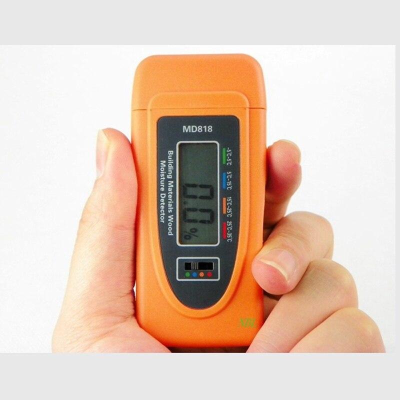 Mini medidor de humedad digital de madera de bambú algodón probador húmedo 5%-60% resolución 0.5% RH herramientas inteligentes de humedad de madera en miniatura