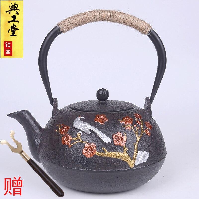 وعاء من الحديد الزهر غير مطلي مع شوكة مجانية ، إناء شاي من الحديد الزهر ، جنوب اليابان ، الكونغ فو