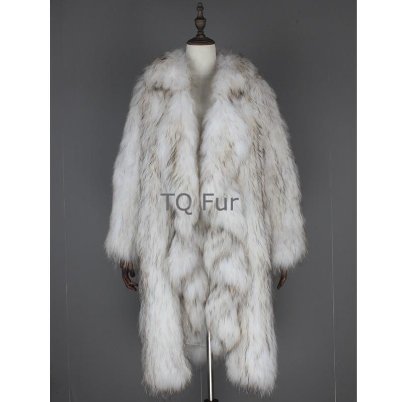 Winter Women Overcoat Knit Raccoon Fur X-Long Coat With Falbala Collar Full Sleeves Outerwear Natural