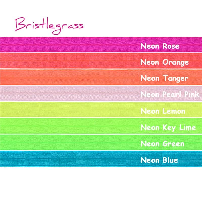 "BRISTLEGRASS 5 ヤード 5/8 ""15 ミリメートルネオン光沢のあるエラスティック FOE バンド子供髪のネクタイヘッドバンドドレスレーストリム縫製"