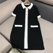 Marque de créateur de luxe robe tricotée pour femmes col claudine Vintage perle bouton glace soie robe tricotée