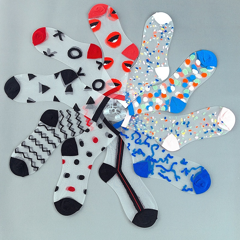 Women  Crystal Socks Transparent Summer Womens Fashion Candy Color Cute Glass Silk Socks