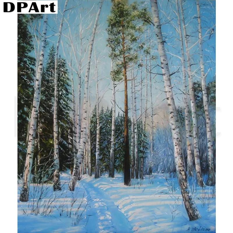 Cuadro de diamantes cuadrado completo/redondo bosque de nieve Fimber taladro Daimond pintura de bordado Kit de punto de cruz cuadro de diamantes de imitación L203