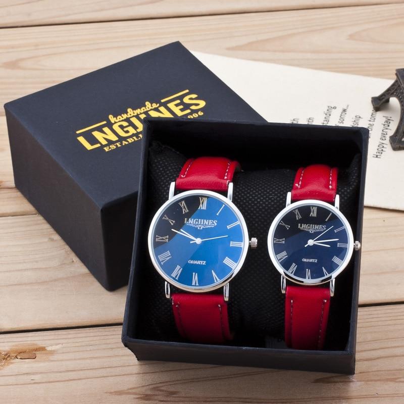 Par de relojes para parejas de hombres y mujeres, reloj de pulsera de cuero brillante para amantes de la moda, conjunto de relojes de lujo rojos para regalo del Día de San Valentín