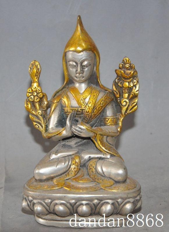 Navidad china tibet, budismo silver-Gilt asiento lotus Tsongkhapa estatua de Buda escultura de halloween