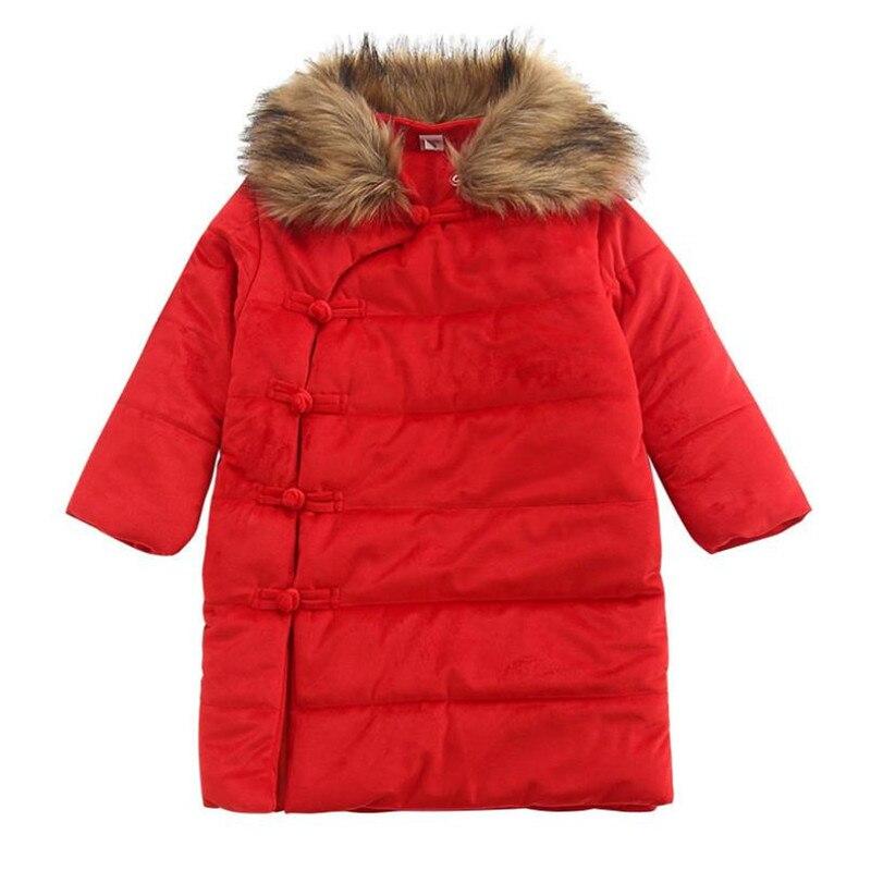 DFXD الاطفال فتاة الأحمر طويلة واحدة الصدر القطن مبطن معطف الشتاء سميكة المخملية الفراء طوق الدافئة الأميرة أبلى 2-7Years