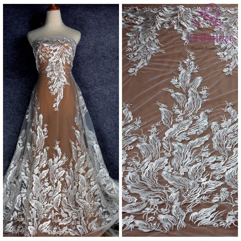 La Belleza 1 yarda 2019 vestido de novia nuevo desinge de rayón blanco con lentejuelas transparentes en tela de encaje bordado de malla
