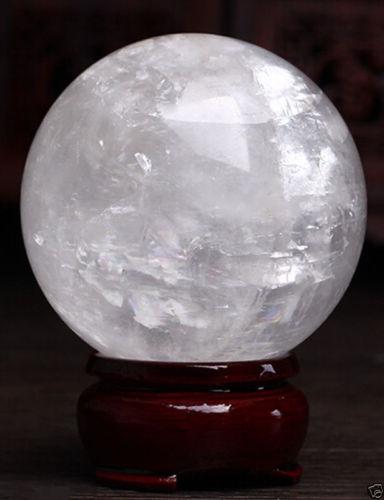 Esfera de curación decoración mágica regalo fino 60mm + soporte Natural blanco calcita cristal esfera sanación gema piedra