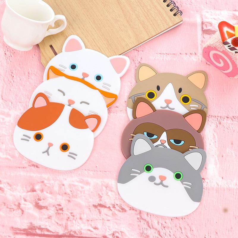 1 Piece Creative Cute Cartoon Kawaii Animals Cat Kitty Pot Bowl heat Insulation Non-slip Pad Cup Holder Mat kitchen Accessory BE