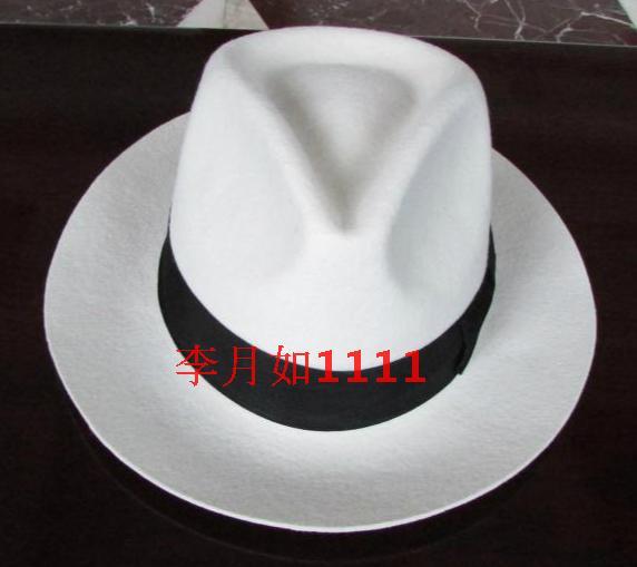 White Authentic Hat Black Contrasting Woolen Fedoras Cap Elegant 100% Wool Vintage Cowboy Cap Jackson Wool Hat White B-8139