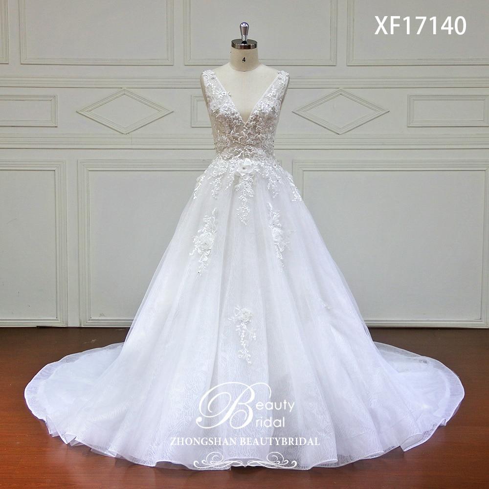 High-end Vestido de Casamento 2019 Com Rendas Flor de Cristal Vintage Vestido De Novia Vestidos de Casamento Real Imagem vestido de Noiva XF17140