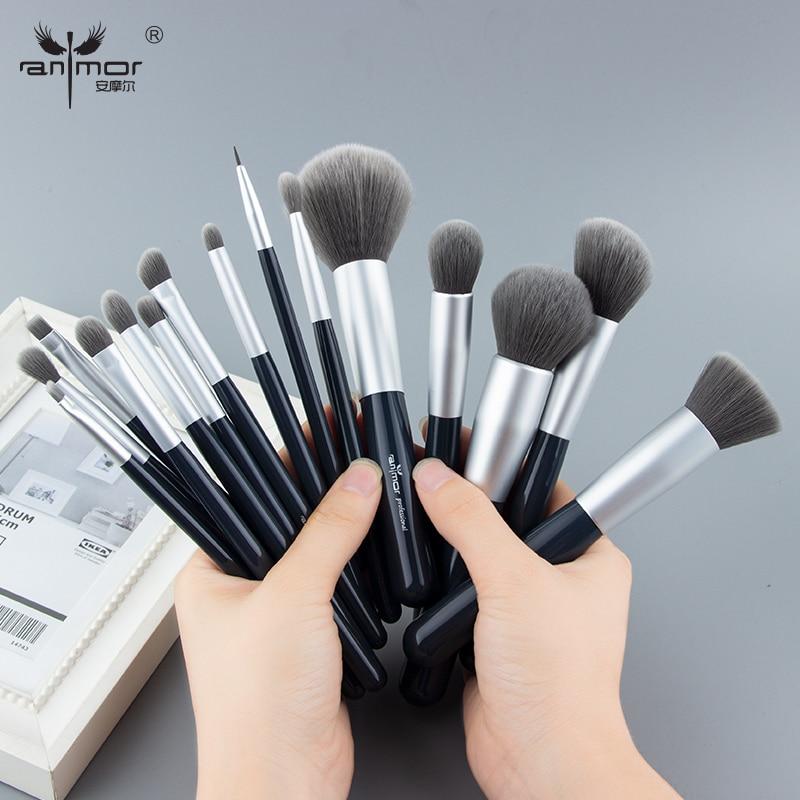 Anmor новый набор кисточек для макияжа 15 шт. Профессиональные щетки синтетические волосы для основы, пудры, румян набор кистей для макияжа