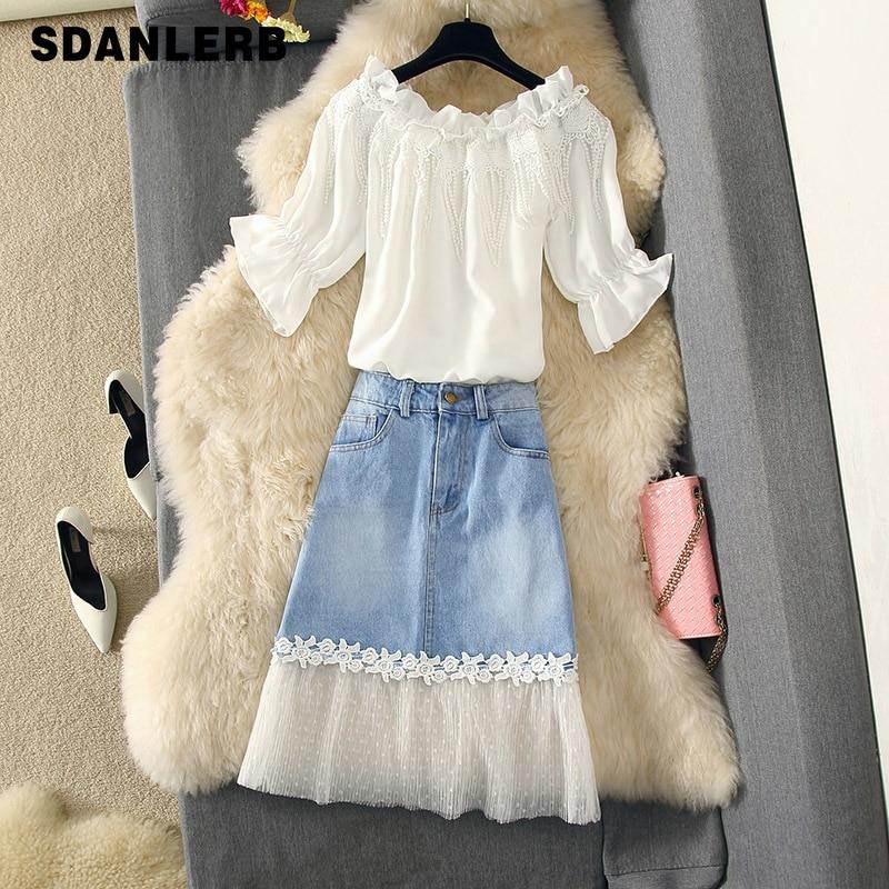 2019 nueva falda de verano dulce traje mujeres escote con volantes camisetas blancas Top + malla empalmada Jean faldas chicas señora Sexy conjunto de dos piezas