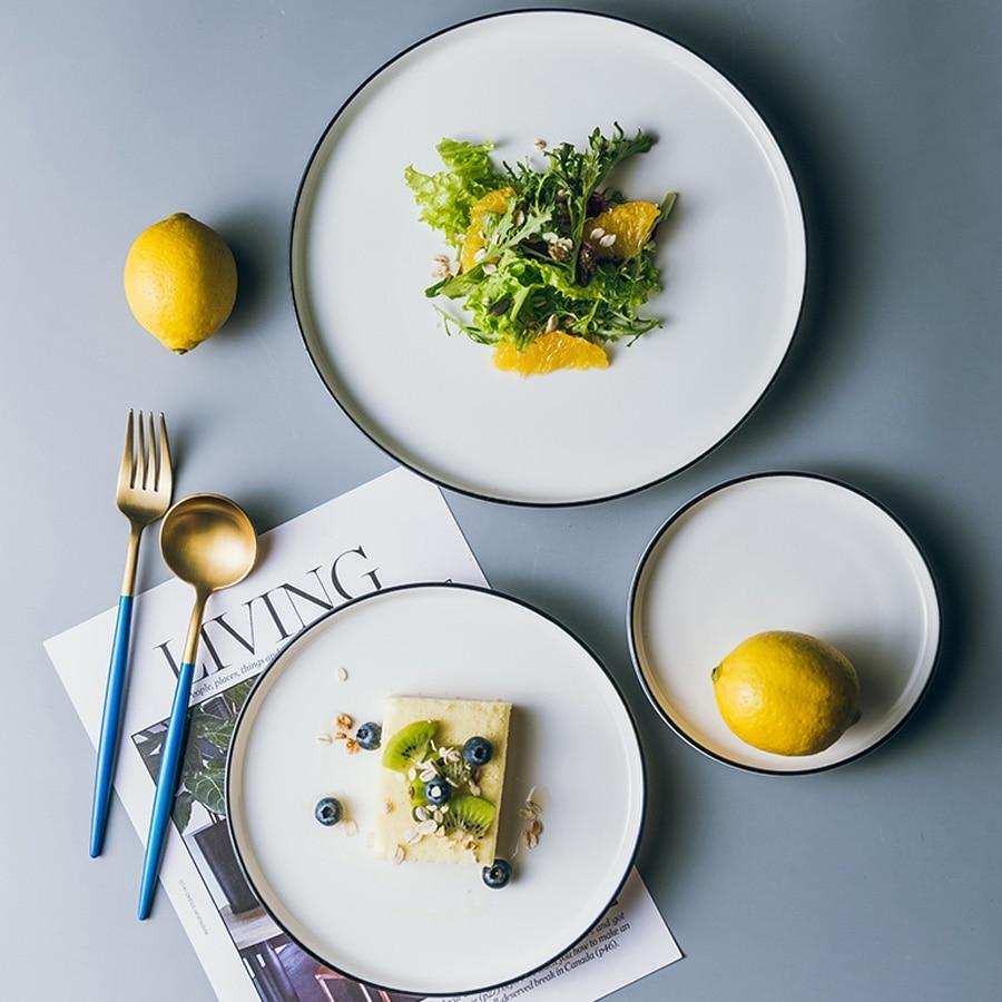 MUZITY Ceramic Dishes and Plates White Round Shape Dinner Set 6/8/10 inch Porcelain Steak Plate