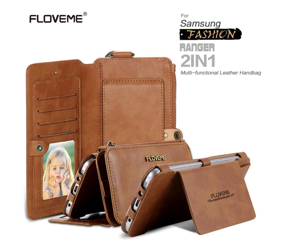 Floveme retro skóra telefon case do samsung galaxy note 3 4 5/s7/s6 edge plus metalowy pierścień coque karty portfel ochronne pokrywa 1