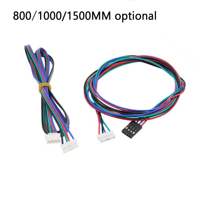 3 uds/800/1000/1500 MM Dupont Cable 4 pin Motor paso a paso de parte de alambre hembra a hembra negro blanco Cable con terminal 3D piezas de impresoras
