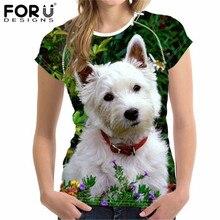 FORUDESIGNS West Highland blanc Terrier impression t-shirt dété femmes à manches courtes T chemise de grande taille décontracté o-cou chemises