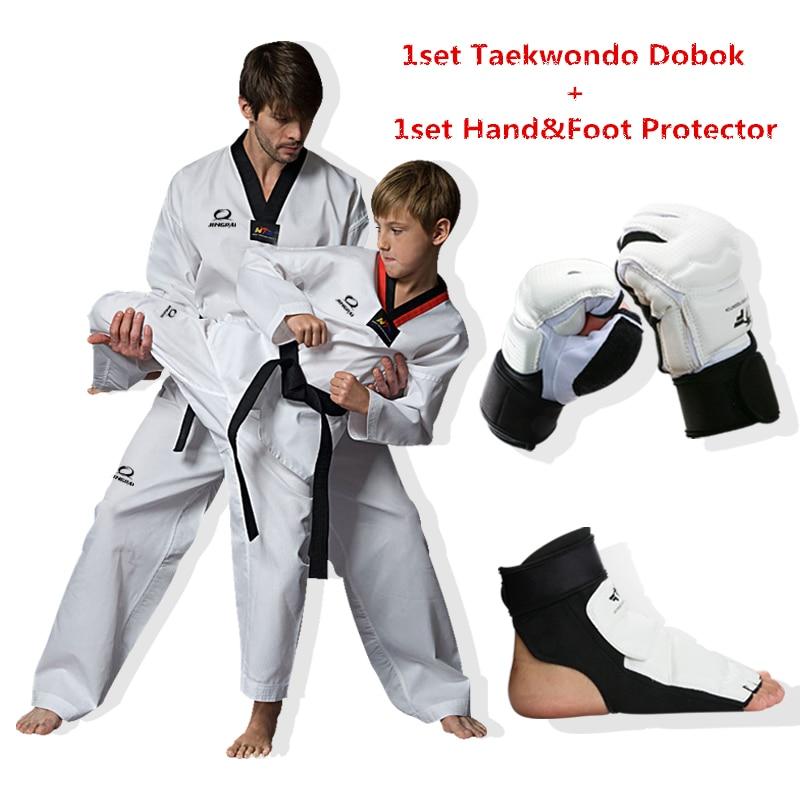 1 ensemble Taekwondo main et pied protecteur adulte enfants coton respirant junior uniforme dobok WTF approuvé taekwondo vêtements