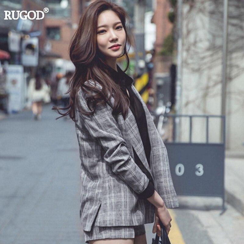 RUGOD-طقم نسائي من قطعتين ، بدلة بنطلون ، موضة عتيقة ، منقوشة ، أكمام طويلة ، بليزر ، بنطلون قصير ، ملابس عمل ، 2020