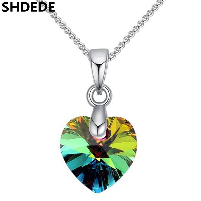 Подвеска в виде сердца SHDEDE, ожерелье, цепь Swarovski, 2019, подарок для женщин + 25774