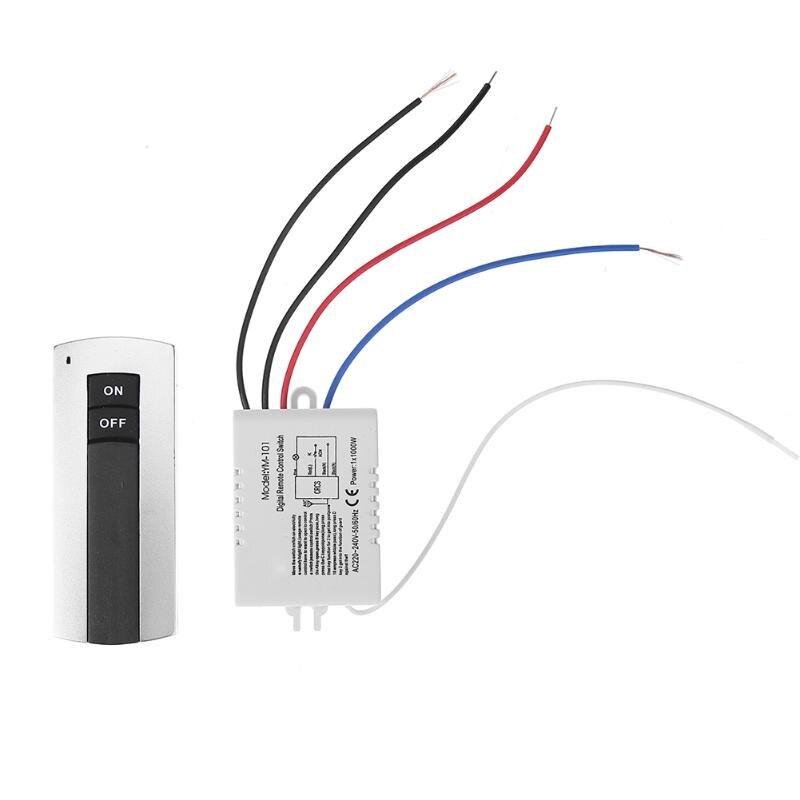Interruptor de luz de lámpara de control remoto inalámbrico Digital de 1 canal de relé de encendido/apagado de 220V con transmisor receptor