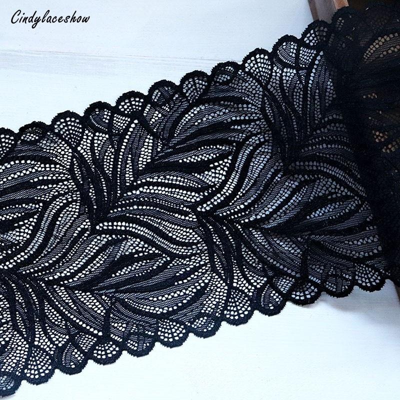 1 yarda 16,5 cm de ancho hojas elásticas de encaje elástico negro para accesorios de ropa vestido costura aplique para disfraz telas de encaje