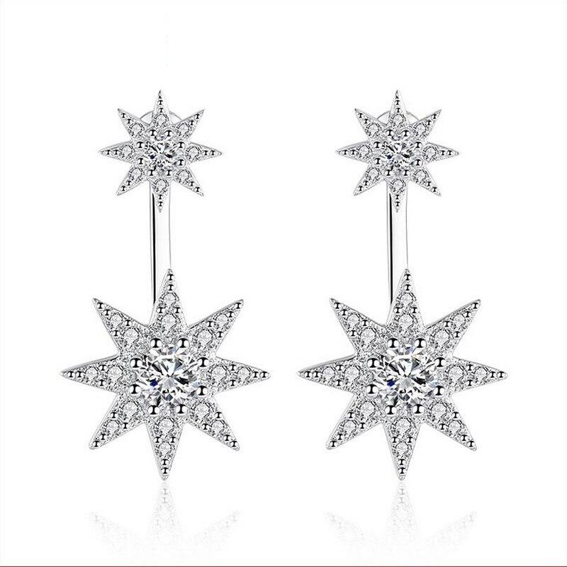 Earrings for women big geometry stud earrings octagonal edge star full of crystal High Quality White Silver Plated Stud Earrings