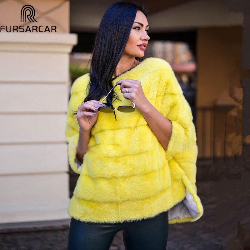 FURSARCAR معطف فرو منك حقيقي جلد طبيعي المعطف الطبيعي الخريف الشتاء النساء الفراء الحقيقي الملابس الفاخرة للإناث ملابس خارجية