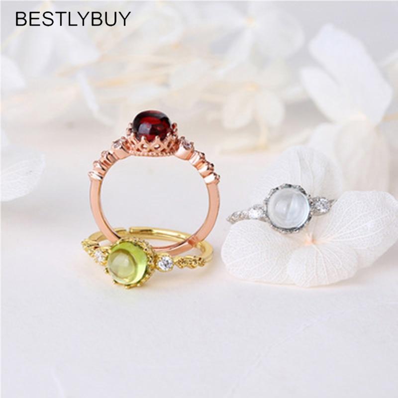 BESTLYBUY nuevo diseño Topazes granate peridoto anillo Vintage 925 plata esterlina anillo de encaje mujeres niñas anillo de boda relleno de plata