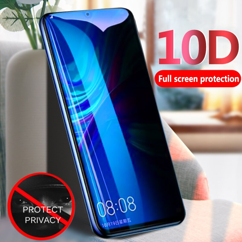 Película protectora de pantalla completa de vidrio templado de privacidad 10D para Huawei Honor 20 Pro V20 Nova 5 5i 4 3i P smart Plus Y7 2019 Y9 2018