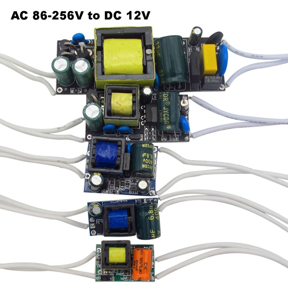 DC 12V Светодиодный драйвер 300mA 450mA 600mA 1A 2A источник питания для светодиодной ленты прожектор AC 110V 220V трансформатор