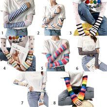 Gants de Protection pour femmes filles   Housse de manches à bras, en soie glace, rayé couleur arc-en-ciel, Harajuku Protection contre le soleil, refroidissement cyclisme, gants de conduite