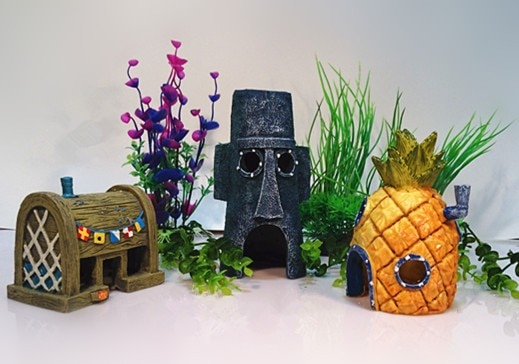 Губка Боб аквариумные украшения для аквариума набор украшений из 3 дом в форме ананаса и скворд Пасхальный остров и Красти краб