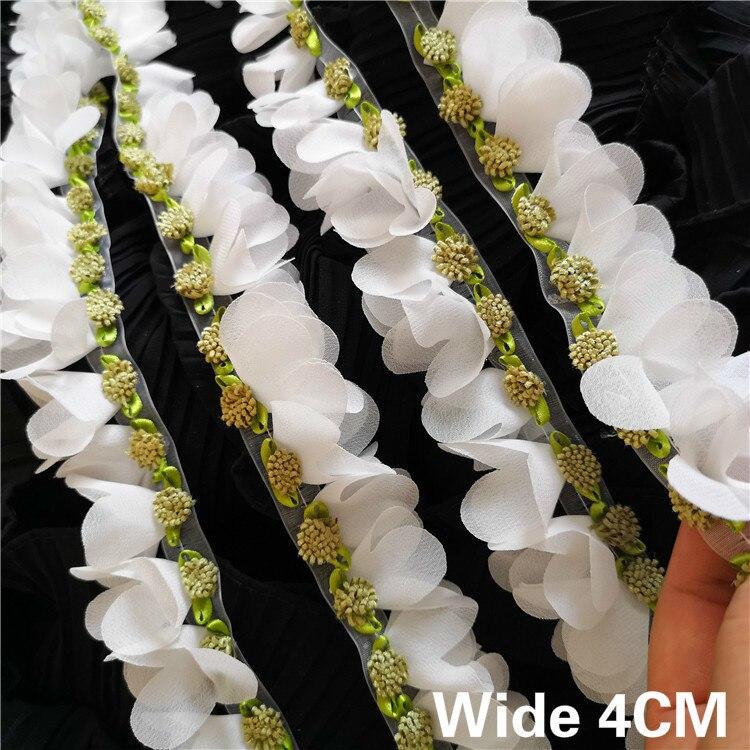 Кружевная лента с 3D цветами, отделка по краю, 4 см, ширина, для свадебного платья, домашнего шитья, аксессуары из гипюра