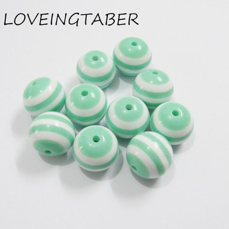 20mm 100 pçs/lote Mint Verde Resina Listradas Beads Para Colar Crianças,, chunky contas de resina para fabricação de jóias
