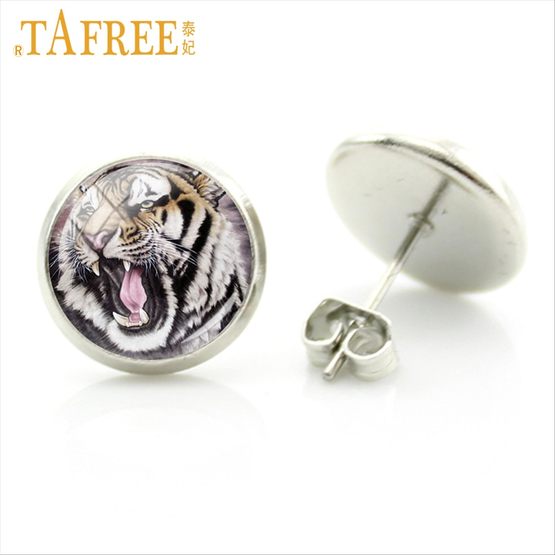 TAFREE fierce wild animal art stud earrings for women men powerful Tiger glass photo earrings wildlife charms jewelry gifts E618