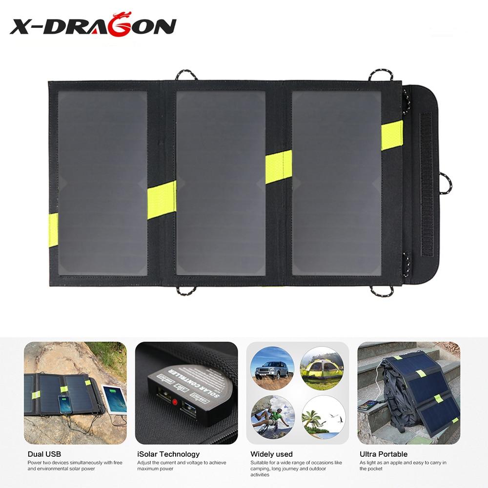 X-DRAGON cargador de Panel Solar plegable de alta eficiencia 5V 20W Cargador Solar para senderismo al aire libre Smartphone iphone Huawei Samsung