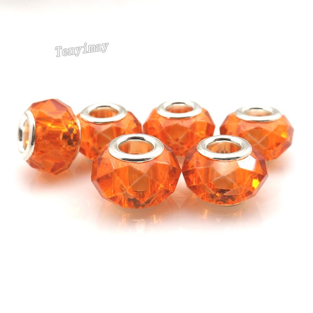 الجملة 100 pcs الأوروبية الحفرة الكبيرة خرز كريستالي البرتقال اللون لصنع المجوهرات