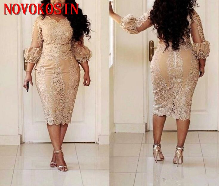 Plus Size Illusion Mother of the Bride Dresses with 3 4 Long Sleeves Applique Lace Tea Length Short Formal Party Gowns