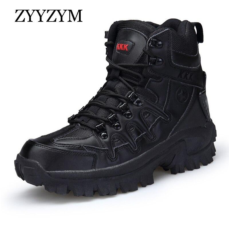 ZYYZYM الرجال الصحراء الأحذية الخريف ماركة الأحذية الجلدية العسكرية الرجال قوة خاصة التكتيكية القتالية في الهواء الطلق عالية الكعب حذاء برقبة ...