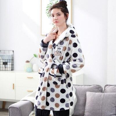 Camisola com Capuz Mulheres Roupão Manter Quente Dot Robe Calças Meninas Leisurewear Flanela Inverno Coral Veludo Pijamas Conjunto 2022