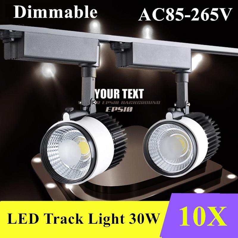 10X DHL LED Track Light 30W regulable COB iluminación de carril Spotlight strip reemplazar 200w lámpara halógena AC85-265V Luz de seguimiento
