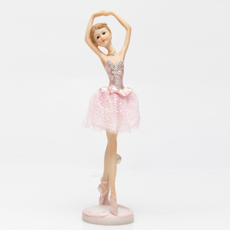 Estatuillas decorativas de niña de Ballet Accesorios de escritorio Kawaii estatua pequeña decoración del hogar rosa