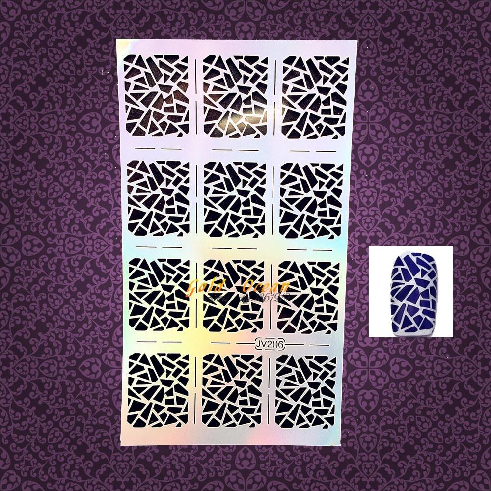 1 pc quente oco unha arte pintura irregular triângulo padrão unha polonês aerógrafo gjv206 manicure dicas salão de beleza unhas estêncil adesivos