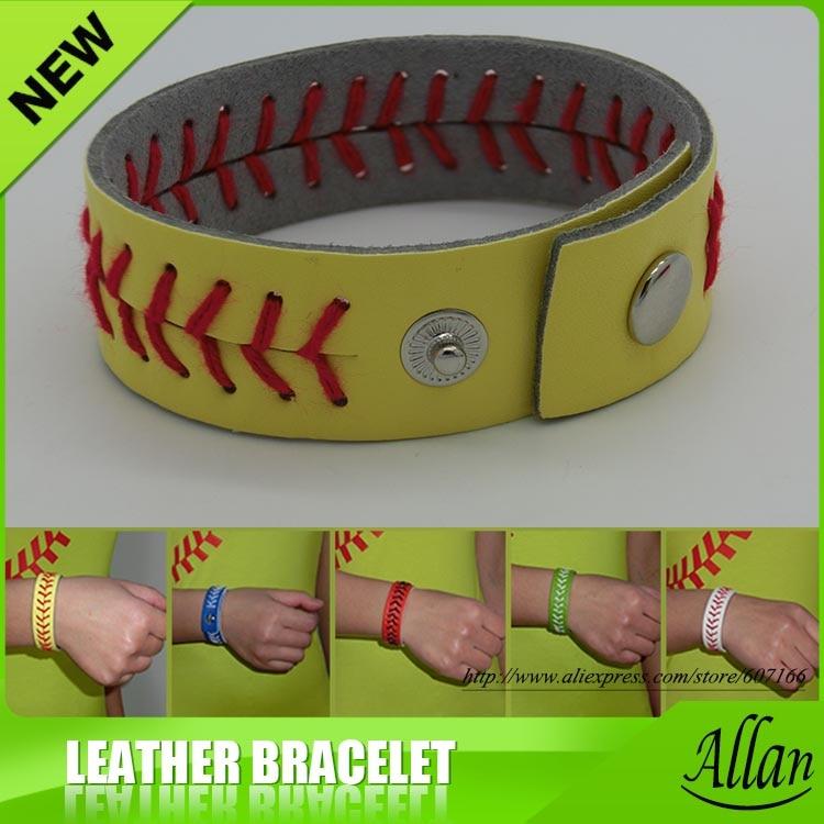 Diademas de costura de softball de cuero genuino amarillo