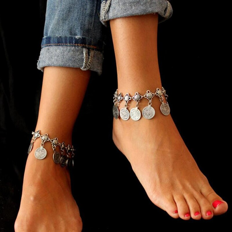 Vintage Antique Silver Color Retro Coin Anklets For Women Yoga Ankle Bracelet Sandals Brides Shoes Barefoot Beach Gifts