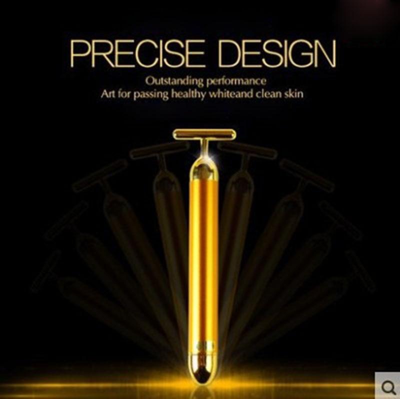 Vibration face Massager 24K Beauty Bar Golden Derma Energy Face Firming Facial Roller Massager thin face Stick Beauty Care