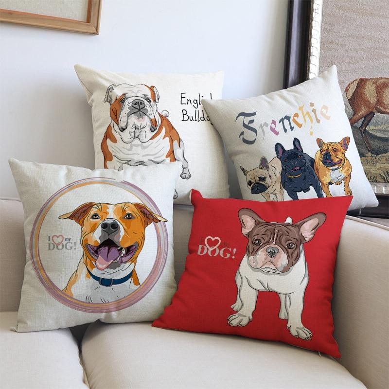 Hand painted Animal Pet Dog American French British Bulldog Bordeaux dog Pillow Case Home Pet shop Sofa decorative Cushion Cover