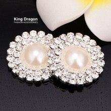 Kristall Zweireihig Strass-Taste Perle Taste Verwendet Auf Einladung Karte 25 MM Flache Rückseite Silber Farbe 100 PCS/ lot KD17